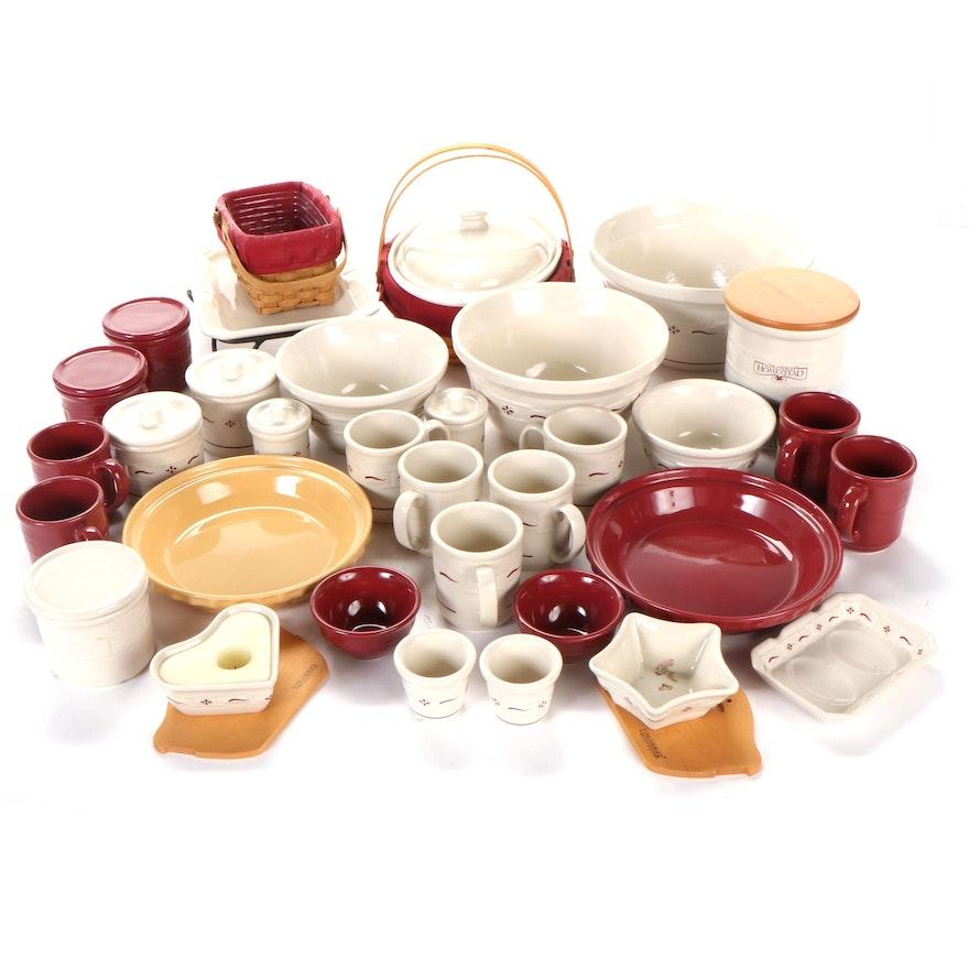 Longaberger Ceramic Serveware, Bakeware, Wooden Baskets and Candle