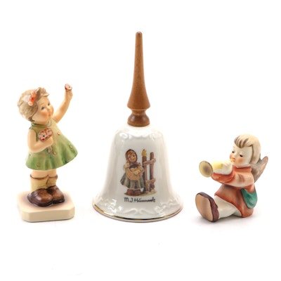 "Goebel ""Chicken-Licken"" Porcelain Bell and Other Hummel Figurines"