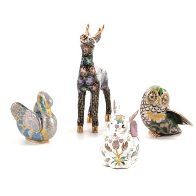 """The Franklin Mint """"Faberge Cloisonné Animal Collection"""" Figurines, Late 20th C."""