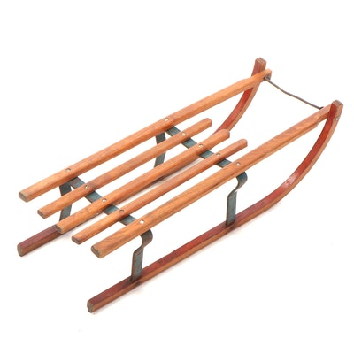 Davos Germina Wood and Cast Iron Sled, Mid 20th Century