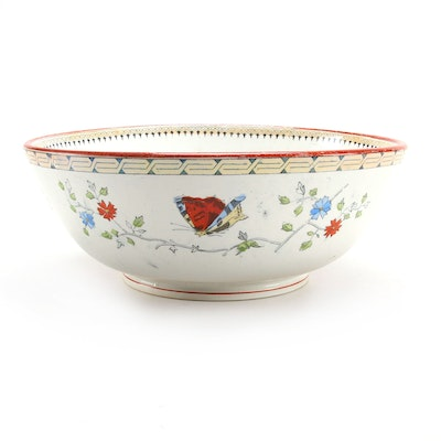"Petrus Regout & Co. ""Vlinder"" Butterfly Decorated Bowl, Early-Mid 20th Century"