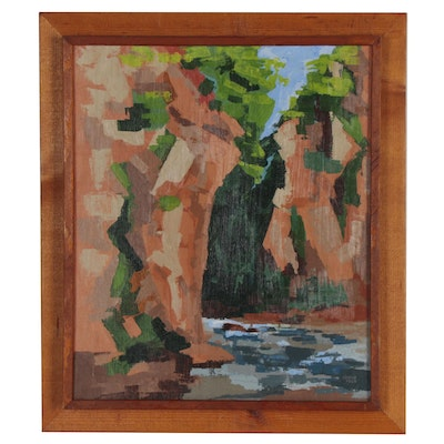 Lerch Abstract Oil Painting of River, 1969