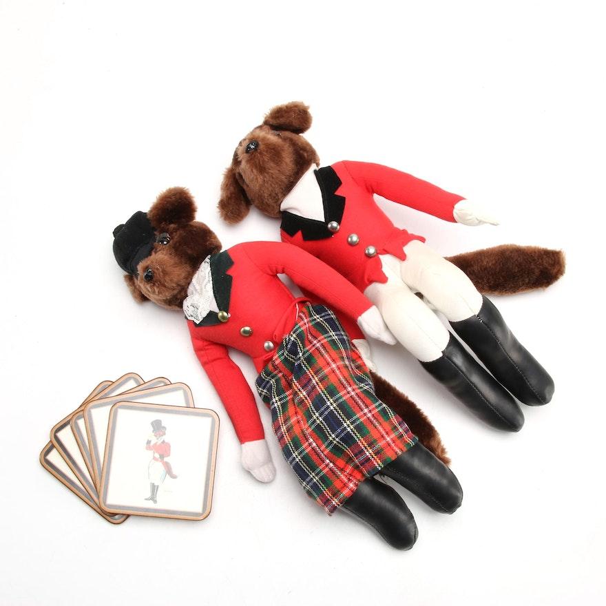 Plush Shelf-Sitter Foxes in Equestrian Attire with Fox Coasters