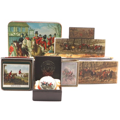 "Fox Hunt Themed Décor Including ""Tally-Ho"" Tin, Match Box, Trinket Box, and More"