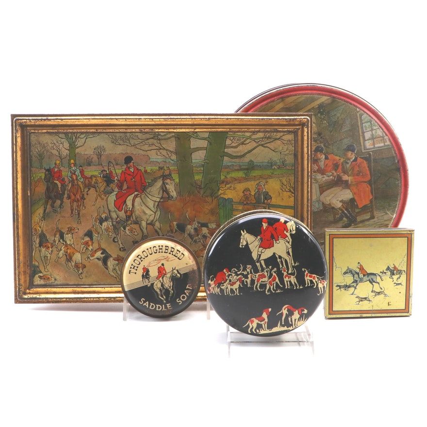 Fox Hunt Theme Tins Including Huntley & Palmers Biscuit Box
