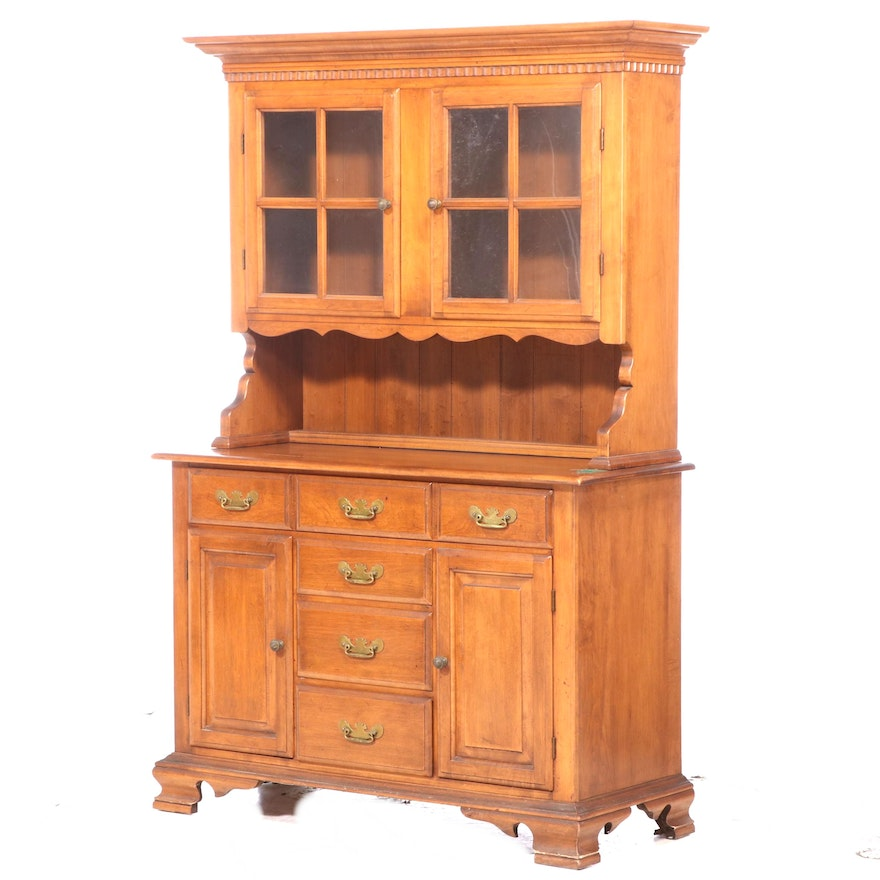Conant Ball Furniture Makers Chippendale Style Maple Stepback Cupboard