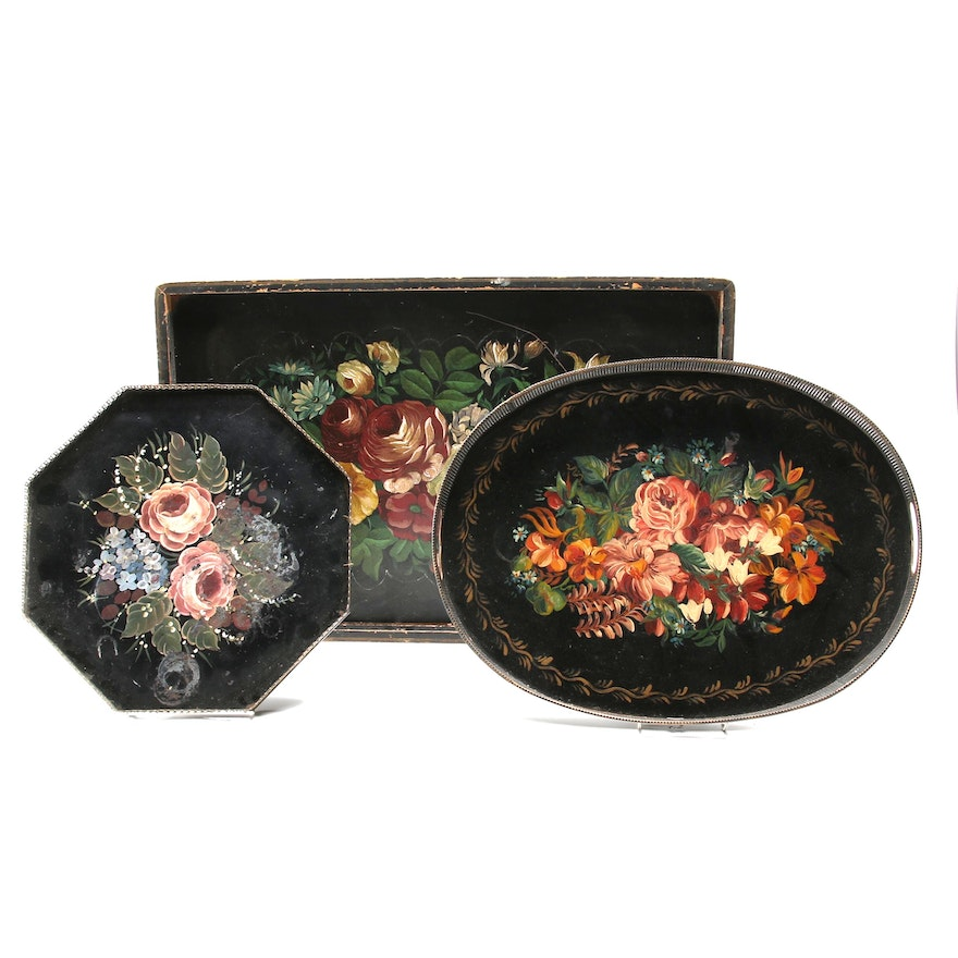 Hand-Painted Robinwood Ware and Other Tole Painted Gallery Trays