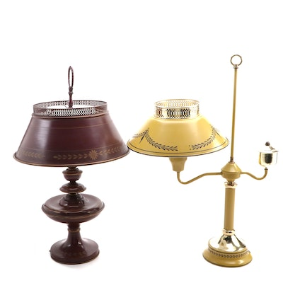 Toleware Metal and Glass Table Lamp and Student Lamp