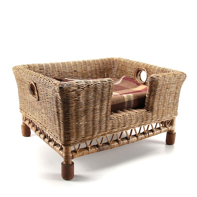 Wicker, Rattan, and Hardwood Pet Bed from Wisteria, with Plaid Wool Blanket