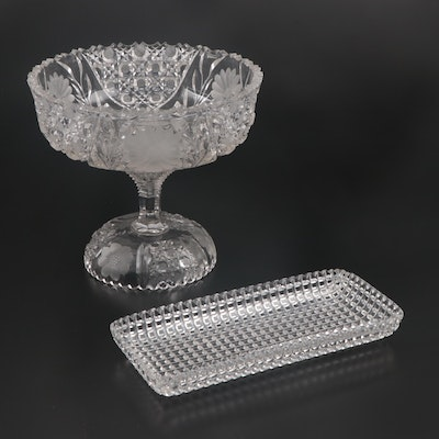 American Brilliant Cut Glass Pedestal Punch Bowl and Relish with Cane Accents