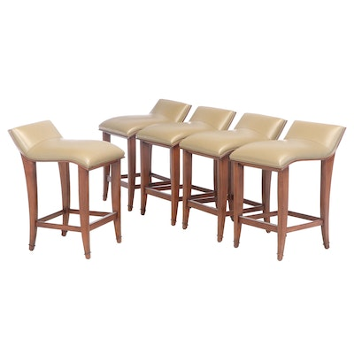 Set of Five Contemporary Walnut and Leather Counter Stools