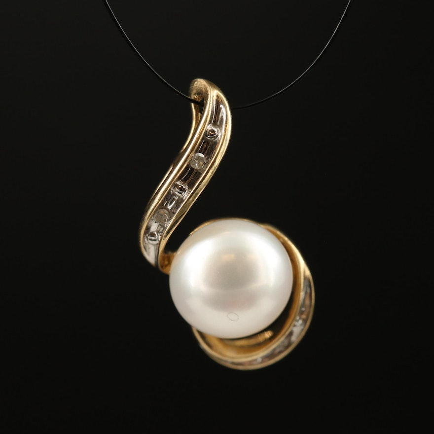 10K Pearl and Diamond Pendant
