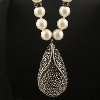 800 Silver Marcasite Pendant with Continuous Pearl Necklace
