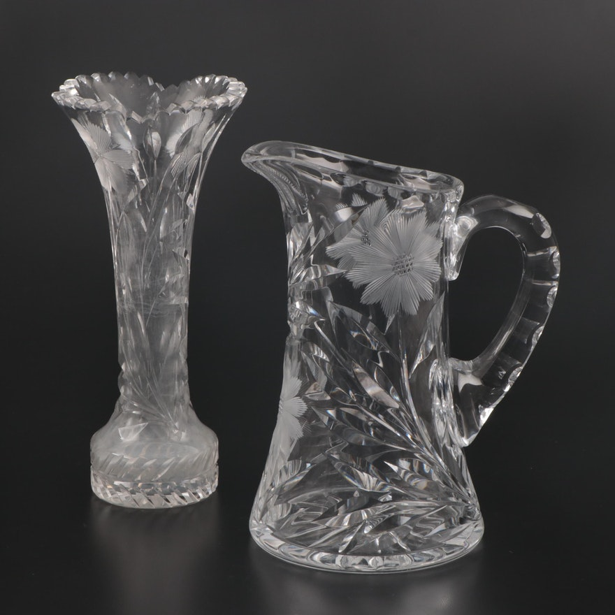 American Brilliant Cut Glass Trumpet Vase and Pitcher with Etched Florals