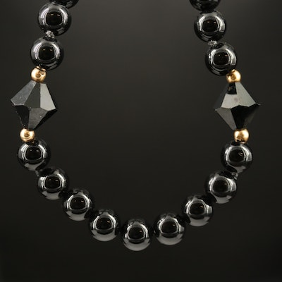 Endless Black Onyx Necklace with 14K Accent Beads