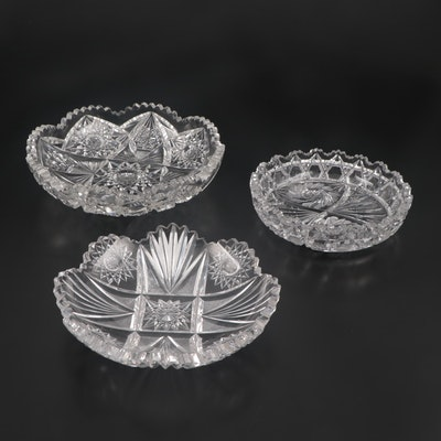 American Brilliant Cut Glass Bowls with Hobstar and Pinwheel Motifs