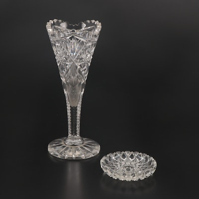 American Brilliant Cut Glass Vase and Pin Dish, Early 20th Century
