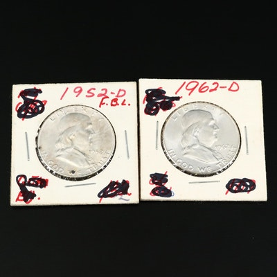 High Grade Uncirculated 1952-D and 1962-D Franklin Silver Half Dollars