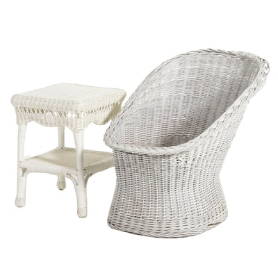 White Wicker Patio Chair and Side Table