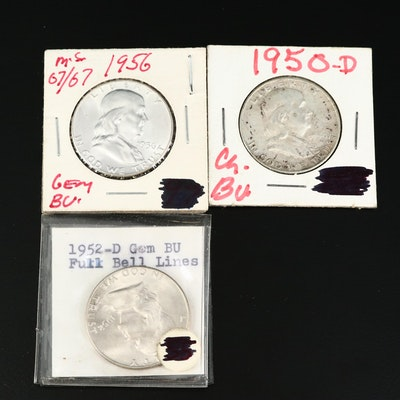 Uncirculated 1950-D, 1952-D and 1956 Franklin Silver Half Dollars