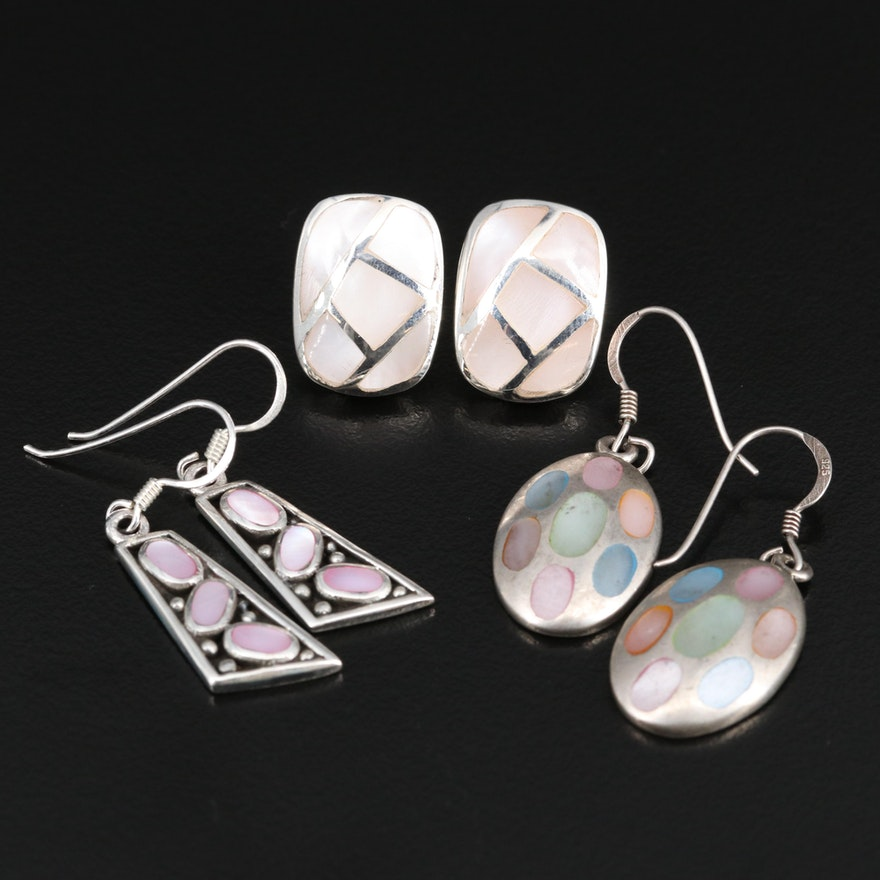 Sterling Silver Mother of Pearl Dangle and Button Earrings