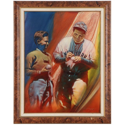 "Manuel Morales Oil Painting ""The Autograph,"" 1990"