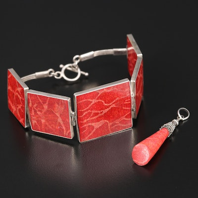 Sterling Silver Coral Bracelet and Pendant