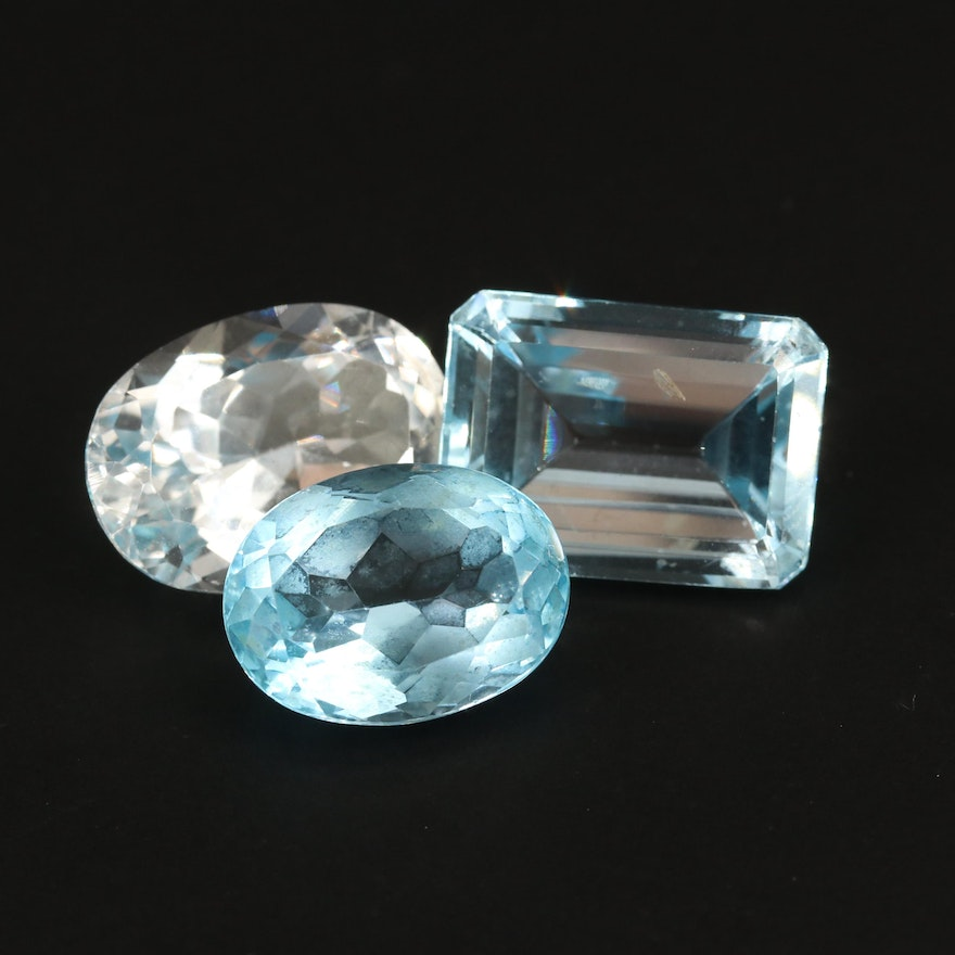 Loose 45.95 CTW Oval and Cut Cornered Rectangular Faceted Topazes