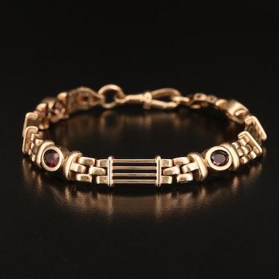 9K Garnet Mixed Link Bracelet
