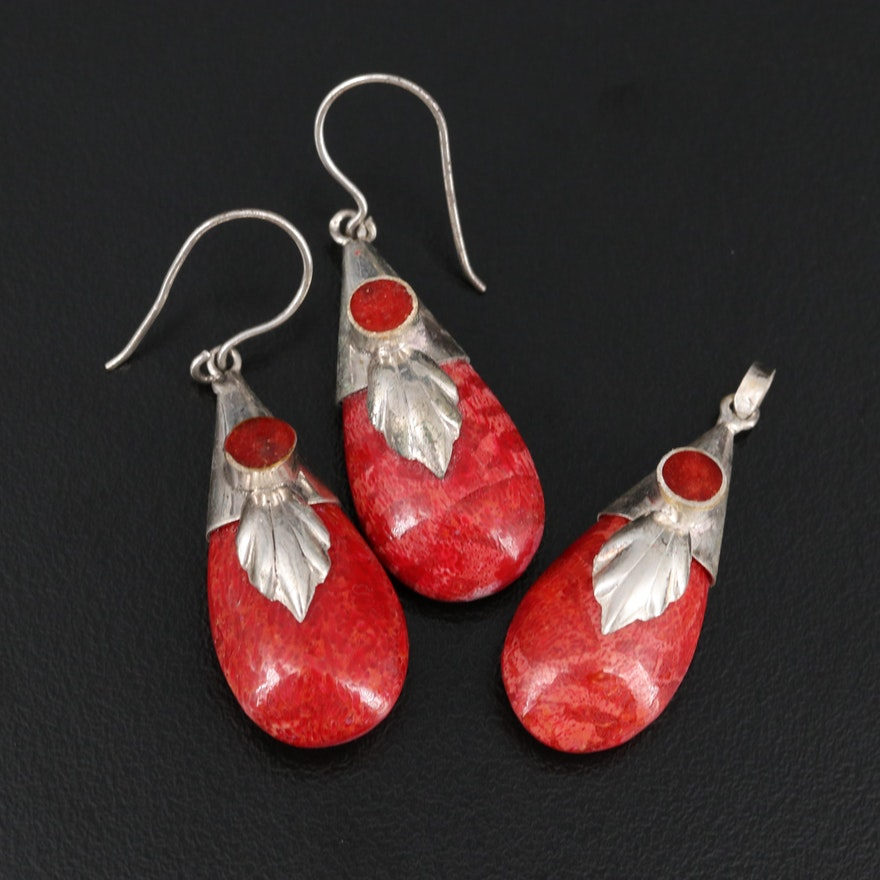 Sterling and 800 Silver Coral Earrings and Pendant