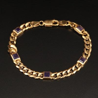 14K Purple Lab Grown Sapphire Curb Link Station Bracelet