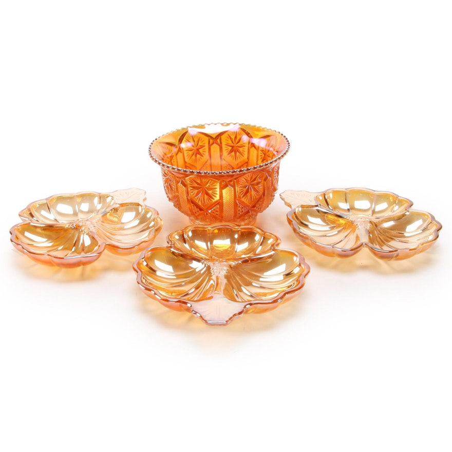 Jeanette Marigold Doric Clover Divided Glass Candy Dishes with Footed Bowl