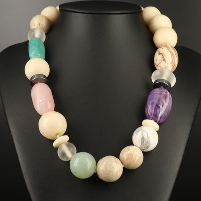 Multi-Gemstone Beaded Necklace with 14K Clasp
