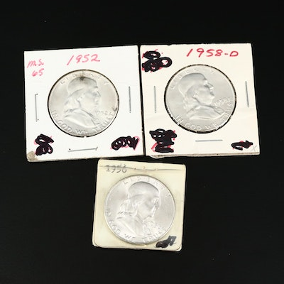 High Grade Uncirculated 1952, 1956 and 1958-D Franklin Silver Half Dollars