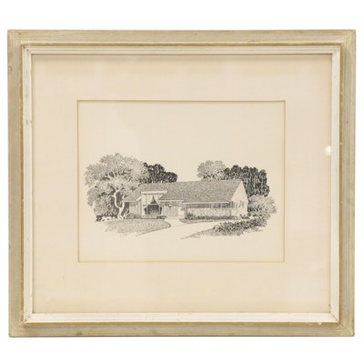 E. H. Olmstead Hand-Embellished Lithograph of Architectural Rendering