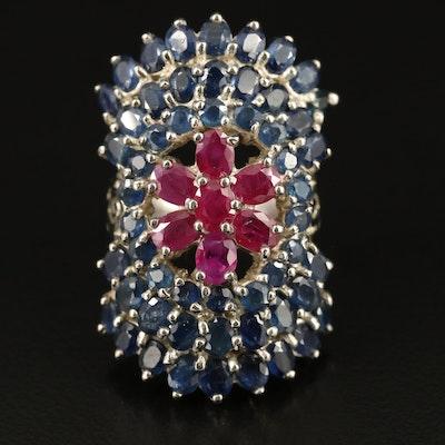 Sapphire and Corundum Openwork Ring