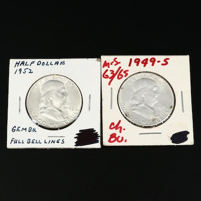 High Grade Uncirculated 1949-S and 1952 Franklin Silver Half Dollars