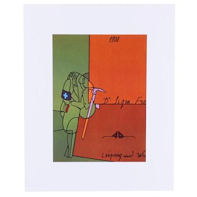 """Valerio Adami Offset Lithograph """"Hommage à Freud"""" for """"Derrière le Miroir"""""""