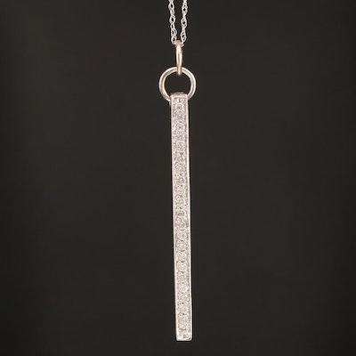 14K Diamond Bar Pendant