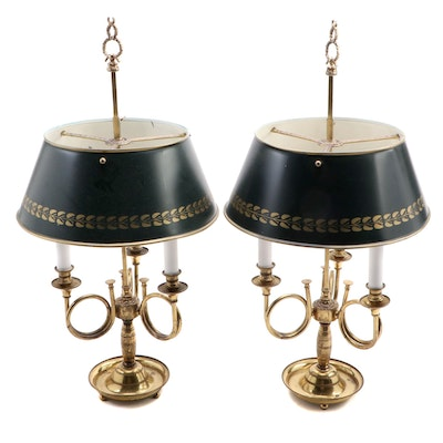 Pair of Brass French Horn Bouillotte Table Lamps, Mid to Late 20th C.