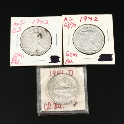 Three High Grade Walking Liberty Silver Half Dollars
