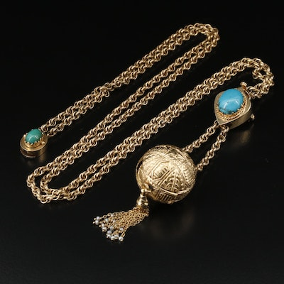 14K Gold and Turquoise Hidden Watch Conversion Pin and Necklace