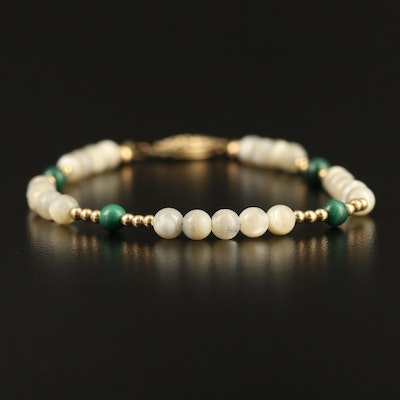 Mother of Pearl and Malachite Beaded Bracelet