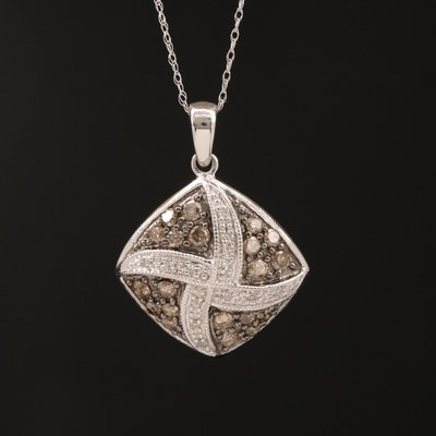 10K Diamond Pendant with 14K Chain Necklace