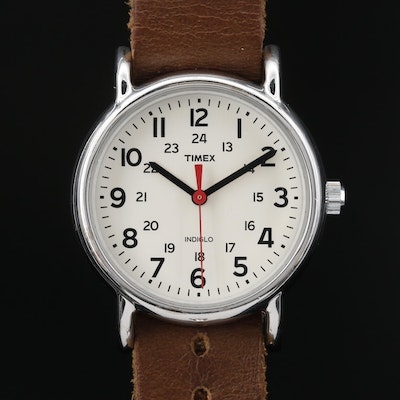 Timex Weekender Indiglo Stainless Steel Quartz Wristwatch