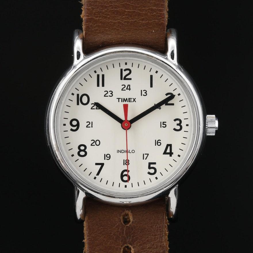 Timex Weekender Indiglo Stainless Steel Quartz Wristwatch