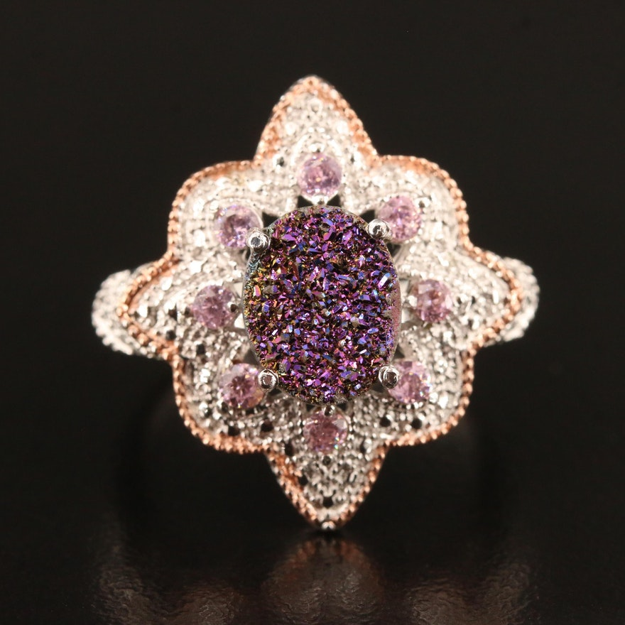 Druzy and Cubic Zirconia Ring