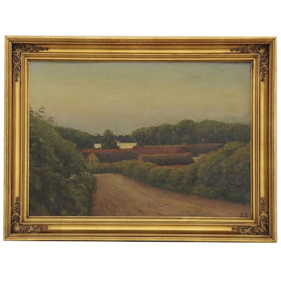 Franz Krause Oil Painting of Village Landscape of Kragerup, Early 20th Century
