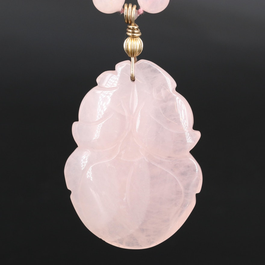 Carved Rose Quartz Pendant Strand Necklace with Gold Filled Clasp and Accents
