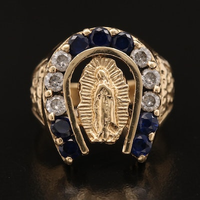 14K Sapphire and Cubic Zirconia Our Lady of Guadalupe and Lucky Horseshoe Ring